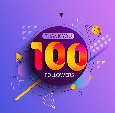Illustrazione per Thanks for the first 100 followers. Thank you followers congratulation card. Vector illustration for Social Networks. Web user or blogger celebrates and tweets a large number of subscribers. - Immagini Royalty Free
