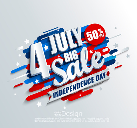 Illustration pour Big Sale banner for Independence day. Offer of 50 per cent discount. Template for your design, card, flyer, poster for 4th of July in USA. Vector illustration. - image libre de droit