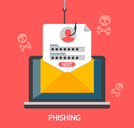 Ilustración de Phishing login and password on fishing hook from email envelope on red background with skulls. Concept of Internet and network security. Hacking online scam on laptop. Flat style vector illustration. - Imagen libre de derechos