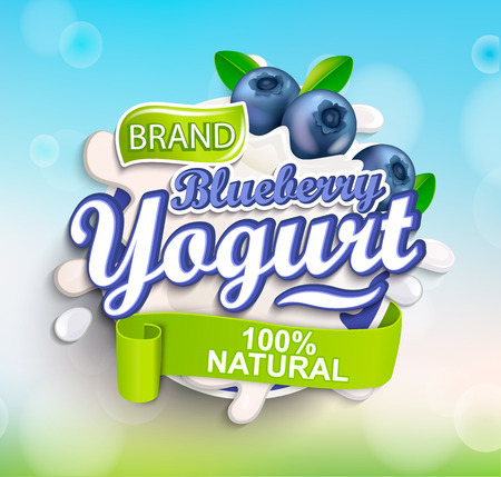 Illustration pour Fresh and Natural Blueberry Yogurt label splash on bokeh background for your brand, logo, template, label, emblem for groceries, agriculture stores, packaging and advertising. Vector illustration. - image libre de droit
