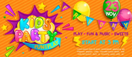 Ilustración de Wide Super kids party Banner in cartoon style with balloons, flags and boom frame.Birthday party, Place for fun and play, kids game room. Poster for childrens playroom decoration.Vector illustration. - Imagen libre de derechos