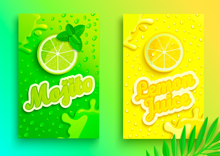 Ilustración de Set of fresh lemon and mojito juices banners with drops from condensation, splashing and fruit slices for brand,logo and template,label,emblems,stores,packaging,advertising.Vector illustration - Imagen libre de derechos