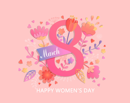 Illustration pour International Women's Day. Banner, flyer for March 8 decorating by paper flowers and ribbon. Congratulating and wishing happy holiday card for newsletter, brochures, postcards. Vector illustration. - image libre de droit