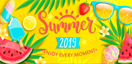 Illustration pour Summer banner with symbols for summertime such as ice cream,watermelon,strawberries,glasses.Hand drawn lettering for template card, wallpaper,flyer,invitation, poster,brochure.Vector illustration - image libre de droit