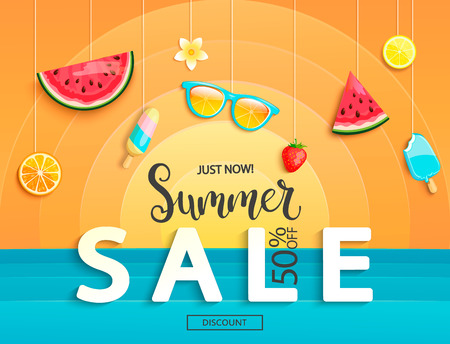 Illustration pour Summer sale banner with fruits, ice-cream, watermelon, orange, glasses, strawberries. Discount template card with geometric background with sun and sea. For flyer, invitation, poster, brochure. Vector - image libre de droit