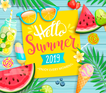 Illustration pour Hello summer 2019 yellow card or banner with handdrawn lettering on blue wooden background with watermelon, detox, ice, ice cream,sunglasses and candy, blueberry. Vector Illustration. - image libre de droit
