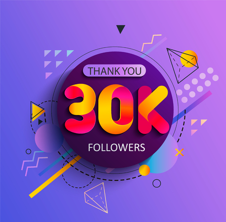 Illustration pour Thanks for the 30000 followers. Thank you 30K follower congratulation card on geometric background. Vector illustration for Social Networks.Web user or blogger celebrates a large number of subscribers - image libre de droit