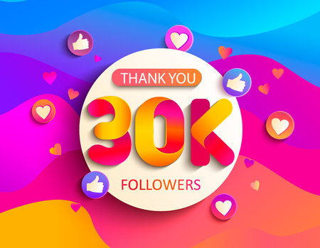 Illustration pour Thanks for the 30000 followers. Thank you 30K follower congratulation card on wavy background. Vector illustration for Social Networks. Web user or blogger celebrates a large number of subscribers. - image libre de droit