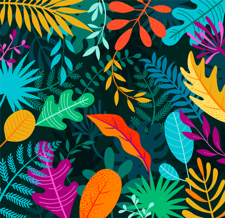 Illustration pour Jungle background with tropical palm leaves. Exotic plants template for your design, banner, poster, fashion, interior. Vector illustration. - image libre de droit