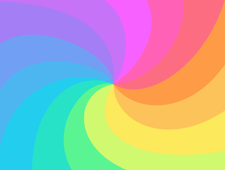 Illustration for Rainbow swirl background. Rainbow's rays of twisted spiral. Vortex starburst or sunburst twirl. Fun multicolored whirlpool for you design,template for business,advertise,packaging.Vector - Royalty Free Image