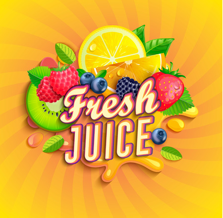 Illustration for Fresh juice logo with splash, fruits and berries on sunburst background.Orange,lemon, strawberries,blueberries,raspberries and blackberries for banner,poster,brand,template and label,packaging,packing - Royalty Free Image