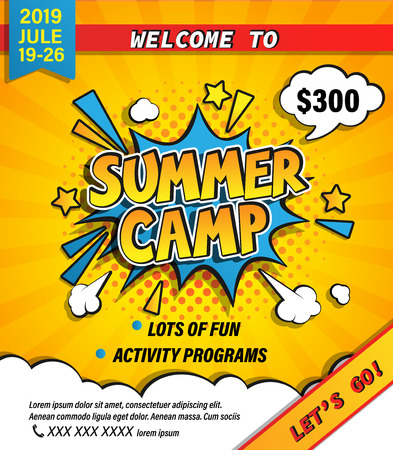 Ilustración de Summer camp invitation banner with handdrawn lettering in comic speech bubble on halftone background. Lets go camping and travelling on holiday. Template for posters, flyers. Vector illustration. - Imagen libre de derechos