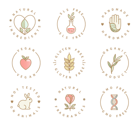 Illustration for Set of eco product logos, natural organic healthy food and drink icons,labels for restaurant menu, packaging,packing.Healthy lifestyle. Handmade, gluten, sls and gmo free, not tested on animals.Vector - Royalty Free Image