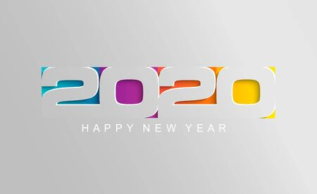 Illustration pour Happy 2020 new year card in paper style for your seasonal holidays flyers, greetings and invitations cards and christmas themed congratulations and banners. Vector illustration. - image libre de droit