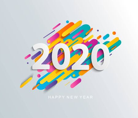 Illustration pour Happy new year 2020 card on modern dynamic background. Perfect for presentations, flyers and banners, leaflets, postcards and posters. Vector illustration. - image libre de droit