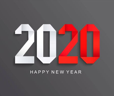 Illustration pour New 2020 year paper greeting card on dark background made in origami style with red number 20. Perfect for presentations, flyers and banners, leaflets, postcards and posters. Vector illustration. - image libre de droit