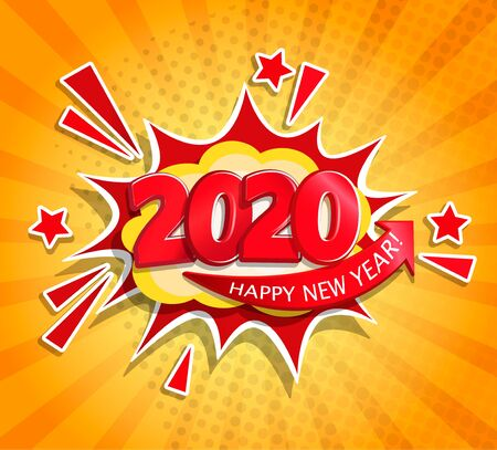 Ilustración de 2020 New Year Comic Boom card in retro pop art style on sunburst background.Christmas comic text speech bubble.Halftone vector banner, greetings card, flyers, invitation, posters, brochure, calendars. - Imagen libre de derechos