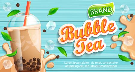 Ilustración de Bubble milk tea banner with delicious tapioca, splashing milk, mint leaves and ice cubes with place for text and brand on wooden background. Great for flyers, posters, cards. Vector illustration. - Imagen libre de derechos