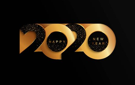 Illustration for Happy 2020 new year golden papercut banner in paper style for your seasonal holidays flyers, greetings and invitations, christmas themed congratulations and cards. Vector illustration. - Royalty Free Image