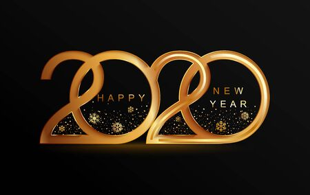 Ilustración de Happy 2020 new year golden banner in paper style for your seasonal holidays flyers, greetings and invitations, christmas themed congratulations and cards. Vector illustration. - Imagen libre de derechos
