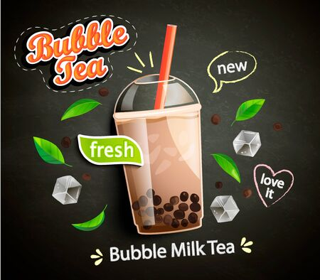 Illustration pour Bubble milk tea in cup with delicious tapioca, mint leaves and ice cubes with place for text and brand on chalkboard background. Great for flyers, posters, cards. Vector illustration. - image libre de droit