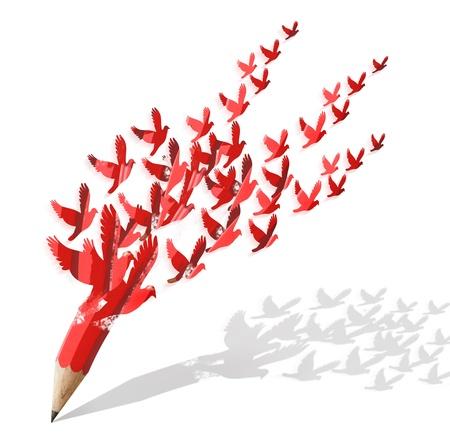 Foto de creative pencil with birds image isolate on white - Imagen libre de derechos
