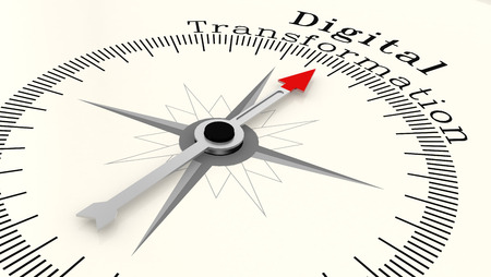 Photo pour Compass with arrow pointing to the word Digital Transformation, 3D rendering - image libre de droit