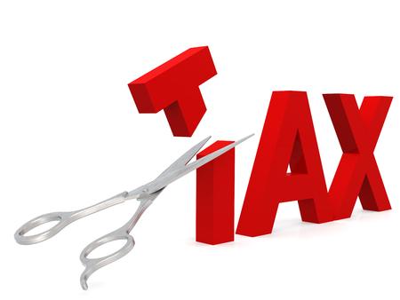 Photo pour Cut tax with scissor isolated on white, 3D rendering - image libre de droit
