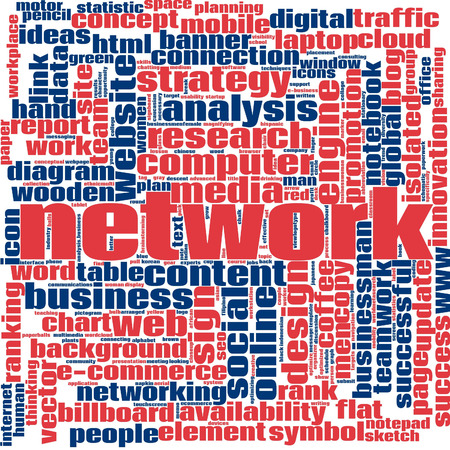 Network word cloud concept on white background, 3d rendering.