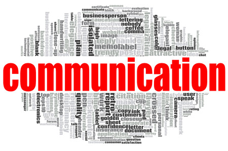 Communication word cloud concept on white background, 3d rendering.