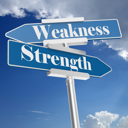 Photo pour Strength and weakness signs, isolated on white. 3D rendering - image libre de droit