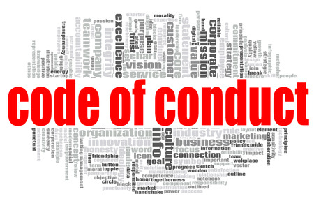Photo for Code of conduct word cloud concept on white background, 3d rendering. - Royalty Free Image