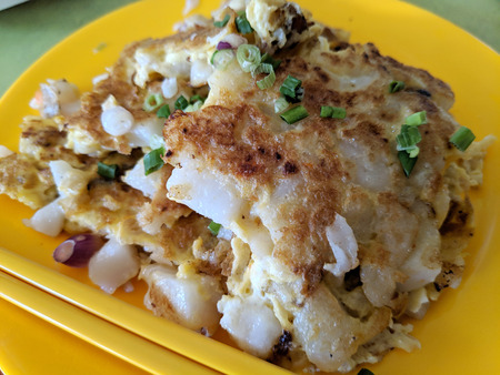 Photo pour Fried Turnip Cake or Radish Cake traditionally called Carrot Cake in Singapore - image libre de droit
