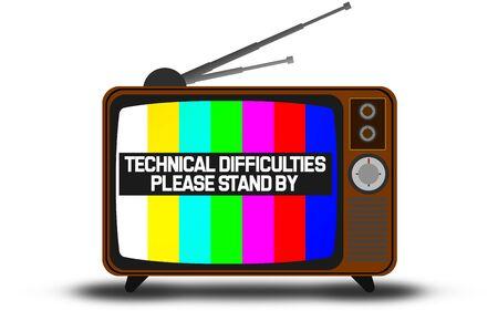 Foto de Retro television with technical difficulties warning , 3D rendering - Imagen libre de derechos