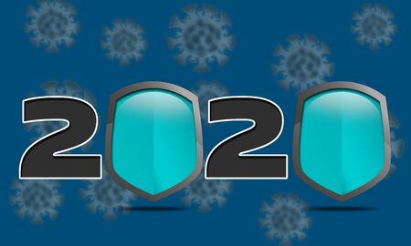 Coronavirus epidemic 2020 with shields, 3d rendering