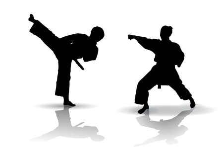 Black vector illustration of karate Silhouette