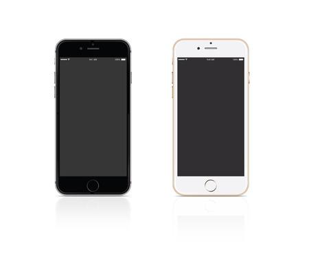Illustration pour Vector Mobile phone silver and gold on white background - image libre de droit