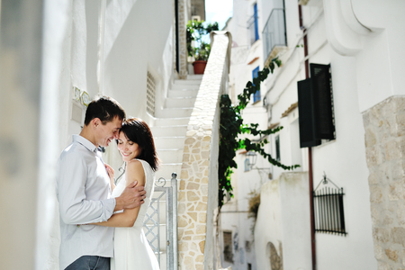 Photo for Romantic couple bride and groom in wedding day in Sperloga, Itay, Europe - Royalty Free Image