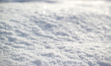 Photo for Snow background with tiny heart bokeh, winter season. - Royalty Free Image