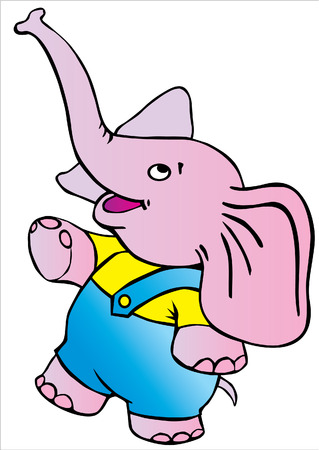 Funny circus elephant on white background.