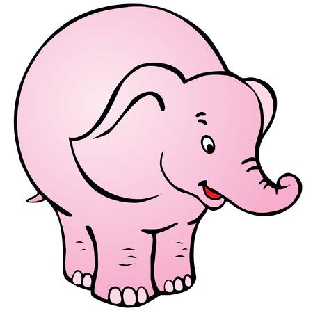 Good circus elephant on white background.
