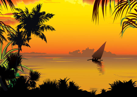 Silhouettes of palms on a ocean background. art-illustration. mural
