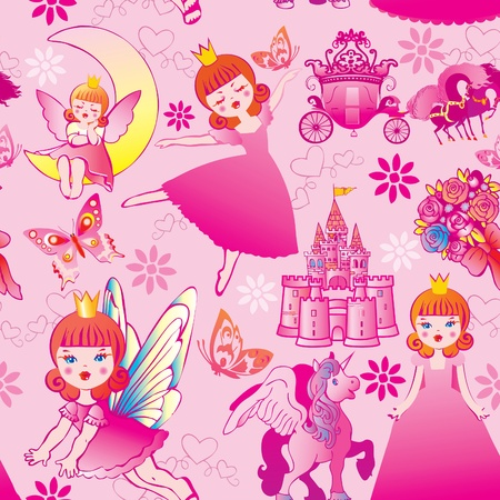 Seamless princess pattern. Vector art-illustration. mural