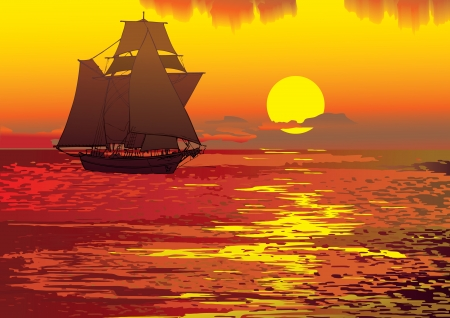 Sailboat in the sea  Vector art-illustration  mural
