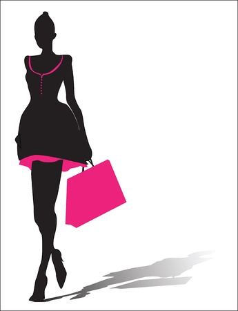Foto de Woman silhouette with shopping bag - Imagen libre de derechos