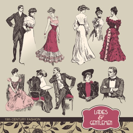 Photo for Ladies and gentlemen 19th century fashion - Royalty Free Image