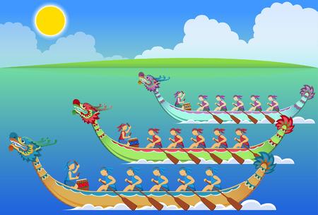 Ilustración de Chinese dragon boat racing festival - Imagen libre de derechos