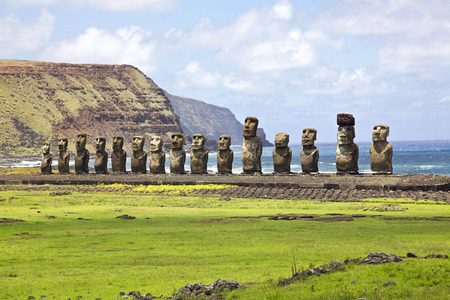 Photo for Ahu Tongariki - the largest ahu on Easter Island. - Royalty Free Image