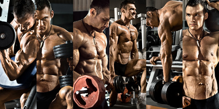 Foto de bodybuilding,  execute exercise press with weight, in gym, collage of photo - Imagen libre de derechos