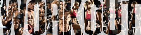 Photo for bodybuilding, execute exercise with weight, in gym, horizontal panorama, collage of photo - Royalty Free Image